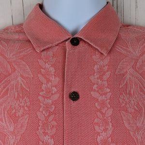 Tommy Bahama Size M Hawaiian Aloha Shirt S/S Coral